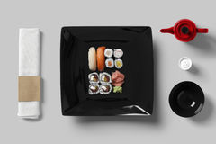 Table setting for sushi set. Top view Stock Images