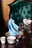 Table, setting, tableware dark velvet armchair, blue, green, aquamarine Royalty Free Stock Image