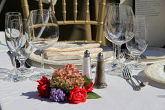 Table setting at Taste Of North Country,Glens Falls,New York,September,2013 Royalty Free Stock Photo