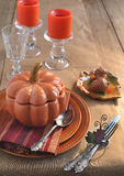 Table setting for Thanksgiving Day. With candles Royalty Free Stock Photos