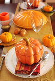 Table setting for Thanksgiving Day. With pumpkins Stock Photography