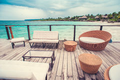 Table setting in tropical Outdoor restaurant at Royalty Free Stock Photography