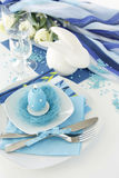 Table setting in turquoise color-3.jpg Stock Photo