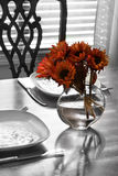 Table setting for two with flowers Stock Images