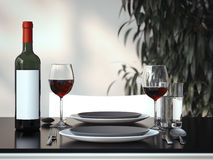 Table setting with two glasses. 3d rendering Royalty Free Stock Images
