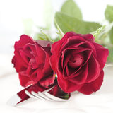 Table setting for valentines day. With roses Royalty Free Stock Photos
