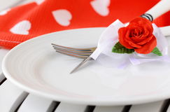 Table setting, valentines day Stock Image