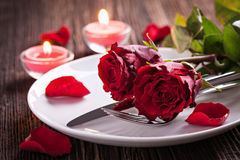 Table setting for valentines day royalty free stock photos