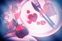Table setting for Valentines day Royalty Free Stock Photography