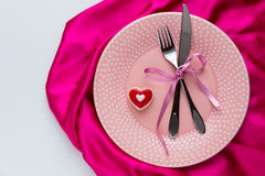 Table setting for Valentines Day. Stock Photo