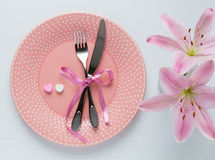 Table setting for Valentines Day. Stock Image
