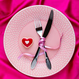 Table setting for Valentines Day. Stock Photos