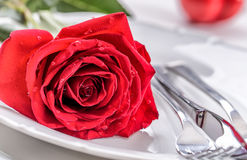 Table setting for valentines or wedding day with red roses. Romantic table setting for two with roses plates cups and cutlery.  Royalty Free Stock Images