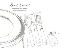 Vector cutlery set: forks, knive, spoons, empty plate. Table setting. Vector Festive cutlery set: forks, knives, spoons, empty plate on cloth napkin. Top view Royalty Free Stock Photo