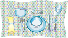 Table setting. A vector illustration of a table setting with a plates, a soup bowl, a wine glass,cutlery,knife,fork and spoon A pale yellow serviette napkin and Stock Image
