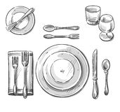 Table setting. Vector sketch. royalty free illustration