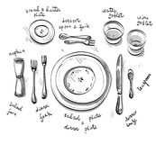 Table setting. Vector sketch. Stock Images