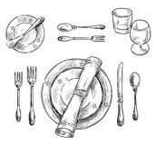 Table setting. Vector sketch. Royalty Free Stock Photography