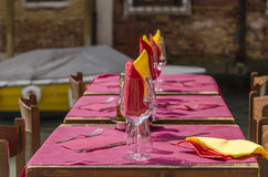 Table setting on Venice waterfront Royalty Free Stock Photography
