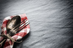 Table setting with vintage spoon and fork Royalty Free Stock Images