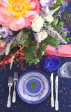Table setting in vintage style is decorated with flowers Royalty Free Stock Images