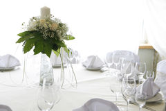 Table setting for a wedding. A photo of table setting for a wedding or dinner event, with flowers Stock Photography
