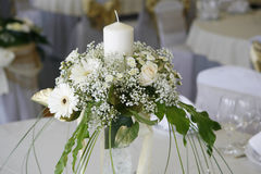 Table setting for a wedding. A photo of table setting for a wedding or dinner event, with flowers Stock Photo
