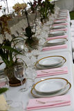 Table setting at a wedding stock photo