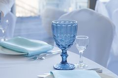 Table setting for wedding table, close-up of glasses stock images