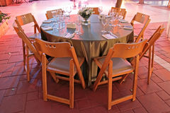 Table setting for a wedding in colored lighting, o Stock Image