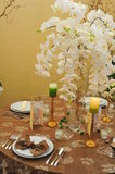 Table setting for wedding dinner. Detail of a fancy table set for wedding dinner Royalty Free Stock Image
