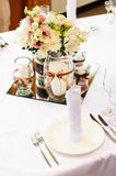 Table setting for wedding dinner Stock Photos