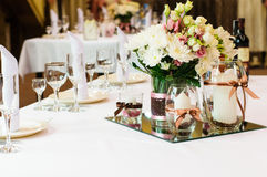 Table setting for wedding dinner Royalty Free Stock Photo
