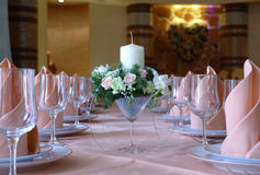 Table setting for wedding dinner Stock Photo