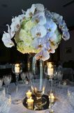 Wedding table with flower bouquet Royalty Free Stock Photo