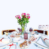 Table setting in white color. Stock Photography