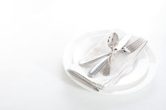 Table setting in white and gray colors Stock Photography