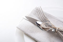 Table setting in white and gray colors Stock Images