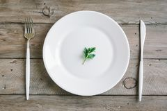 Empty plate with parsley leaf. Table setting with white plate, modern cutlery fork and knife and little leaf of fresh parsley on wooden background, top view Stock Image