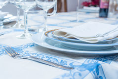 Table setting with white plates, vintage silverware, linen napki. Ns. Side view point Stock Image