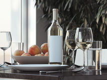 Table setting with white wine . 3d rendering Royalty Free Stock Photo