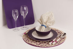 Table Setting and Wine Glasses Stock Images