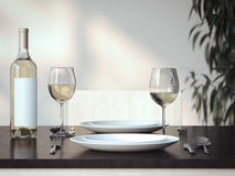 Table setting with wine and two glasses. 3d rendering Stock Photography