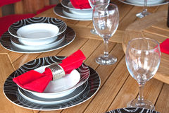 Table Setting With Glasses And Plates Royalty Free Stock Image