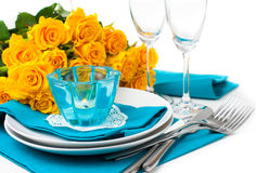 Table setting with yellow roses Royalty Free Stock Image