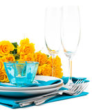 Table setting with yellow roses Stock Photo