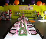 Table settings laid for a party Stock Photo