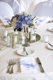 Table settings - series. Dinner table set for a wedding royalty free stock photography