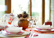 Table setup. For official dinner royalty free stock image