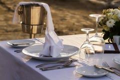 Table setup for dinner Stock Photos
